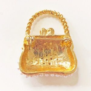 Vintage Jewelry - Mini Purse Brooch with Faux Pearls and Rhinestones